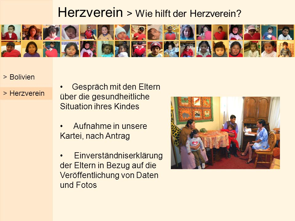 Herzverein > Wie hilft der Herzverein? Gespräch mit den Eltern über die gesundheitliche Situation ihres Kindes Aufnahme in unsere Kartei, nach Antrag