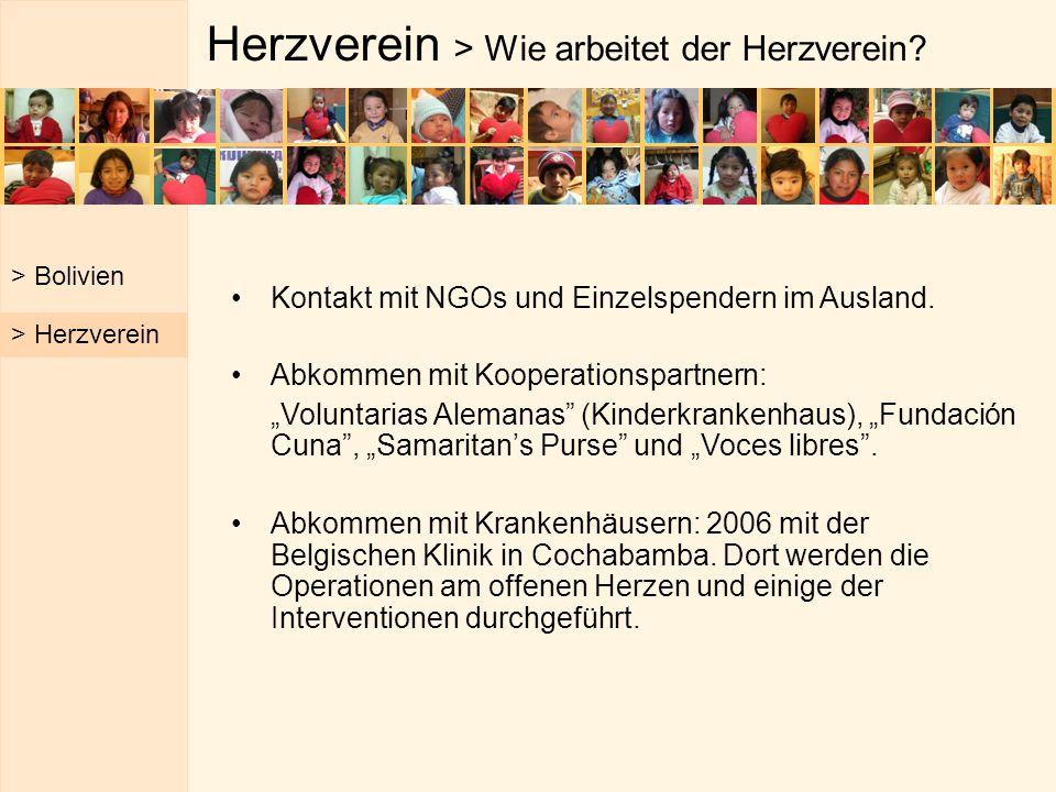 """Herzverein > Wie arbeitet der Herzverein? Kontakt mit NGOs und Einzelspendern im Ausland. Abkommen mit Kooperationspartnern: """"Voluntarias Alemanas"""" (K"""