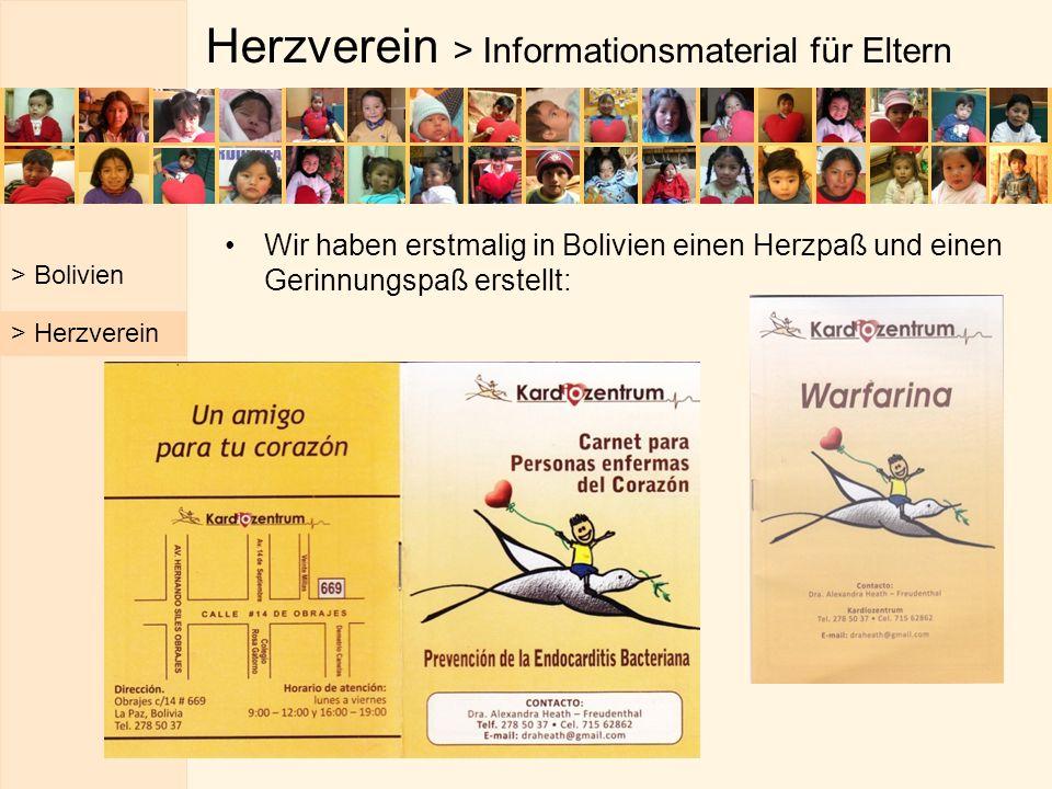 Herzverein > Informationsmaterial für Eltern Wir haben erstmalig in Bolivien einen Herzpaß und einen Gerinnungspaß erstellt: > Bolivien > Herzverein