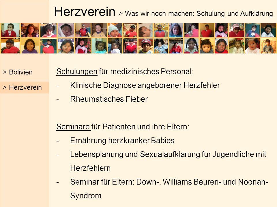 Herzverein > Was wir noch machen: Schulung und Aufklärung Schulungen für medizinisches Personal: -Klinische Diagnose angeborener Herzfehler -Rheumatis