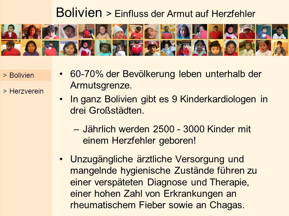 Bolivien > Einfluss der Armut auf Herzfehler 60-70% der Bevölkerung leben unterhalb der Armutsgrenze. In ganz Bolivien gibt es 9 Kinderkardiologen in