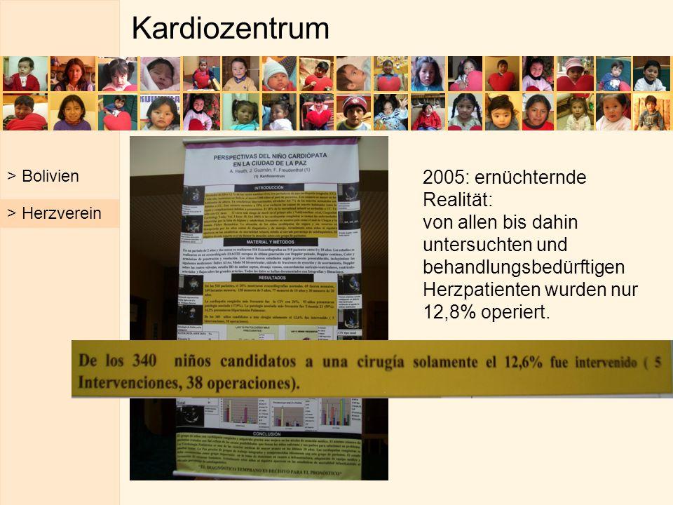 Kardiozentrum > Bolivien 2005: ernüchternde Realität: von allen bis dahin untersuchten und behandlungsbedürftigen Herzpatienten wurden nur 12,8% operi