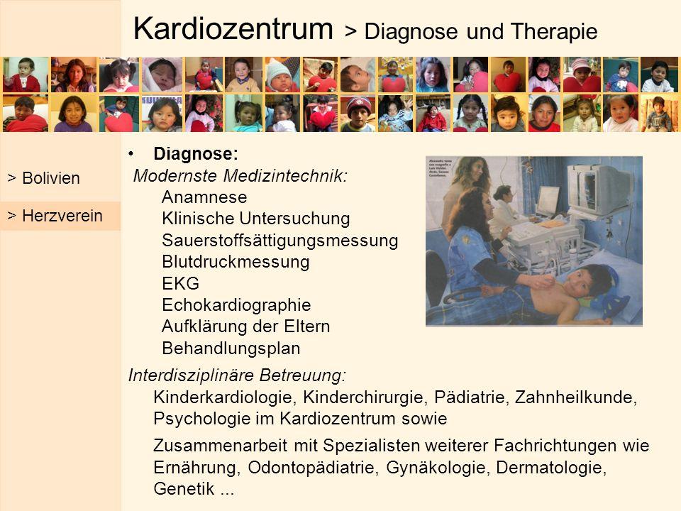 Kardiozentrum > Diagnose und Therapie Diagnose: Modernste Medizintechnik: Anamnese Klinische Untersuchung Sauerstoffsättigungsmessung Blutdruckmessung