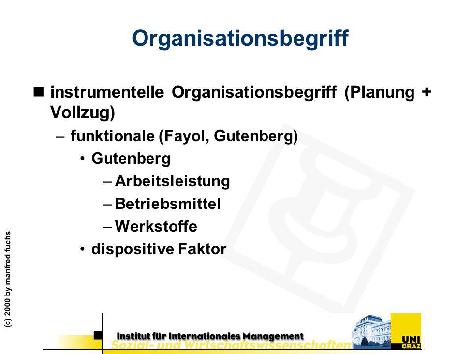 (c) 2000 by manfred fuchs Organisationsbegriff ninstrumentelle Organisationsbegriff (Planung + Vollzug) –funktionale (Fayol, Gutenberg) Gutenberg –Arb