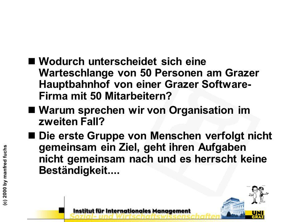 (c) 2000 by manfred fuchs nWodurch unterscheidet sich eine Warteschlange von 50 Personen am Grazer Hauptbahnhof von einer Grazer Software- Firma mit 5
