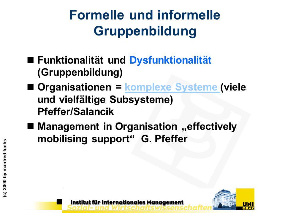 (c) 2000 by manfred fuchs Formelle und informelle Gruppenbildung nFunktionalität und Dysfunktionalität (Gruppenbildung) nOrganisationen = komplexe Sys