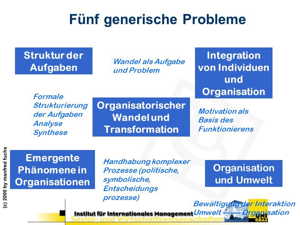 (c) 2000 by manfred fuchs Fünf generische Probleme Struktur der Aufgaben Organisatorischer Wandel und Transformation Organisation und Umwelt Integrati