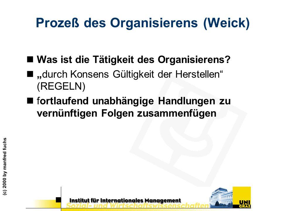 """(c) 2000 by manfred fuchs Prozeß des Organisierens (Weick) nWas ist die Tätigkeit des Organisierens? n""""durch Konsens Gültigkeit der Herstellen"""" (REGEL"""