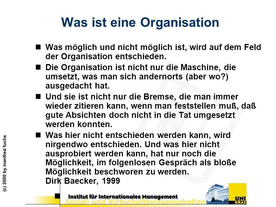 (c) 2000 by manfred fuchs Was ist eine Organisation nWas möglich und nicht möglich ist, wird auf dem Feld der Organisation entschieden. nDie Organisat