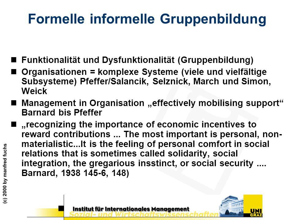 (c) 2000 by manfred fuchs Formelle informelle Gruppenbildung nFunktionalität und Dysfunktionalität (Gruppenbildung) nOrganisationen = komplexe Systeme