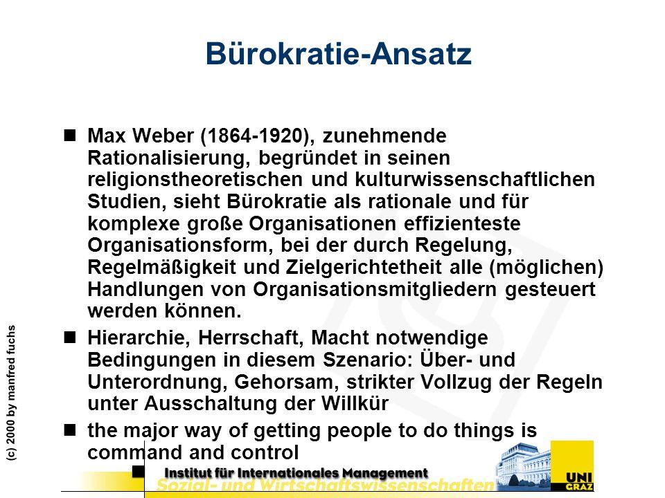 (c) 2000 by manfred fuchs Bürokratie-Ansatz nMax Weber (1864-1920), zunehmende Rationalisierung, begründet in seinen religionstheoretischen und kultur