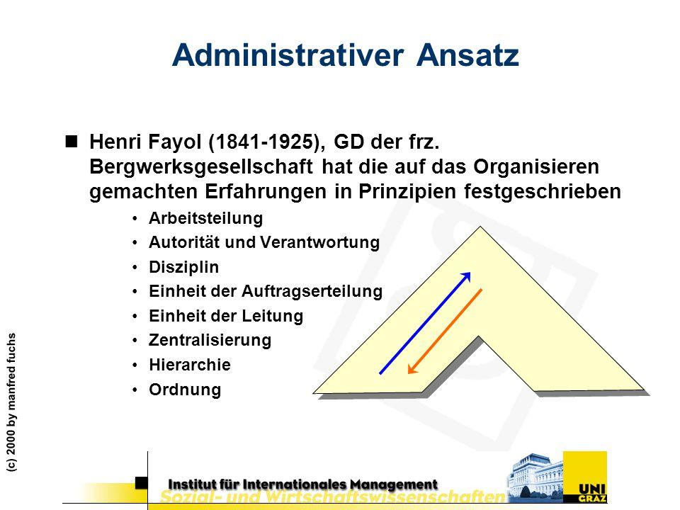 (c) 2000 by manfred fuchs Administrativer Ansatz nHenri Fayol (1841-1925), GD der frz. Bergwerksgesellschaft hat die auf das Organisieren gemachten Er