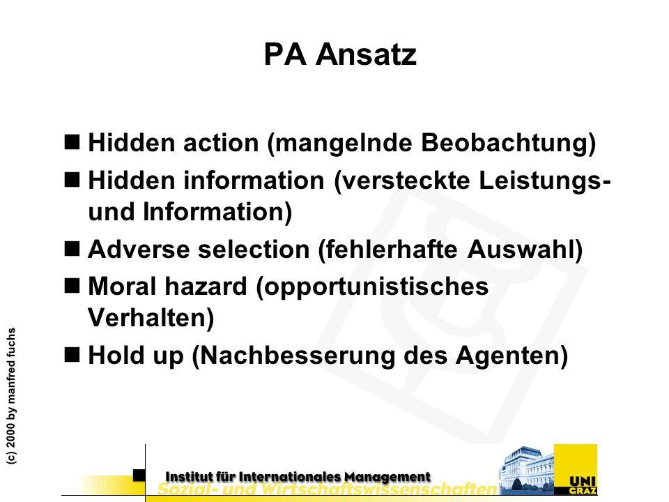 (c) 2000 by manfred fuchs PA Ansatz nHidden action (mangelnde Beobachtung) nHidden information (versteckte Leistungs- und Information) nAdverse select