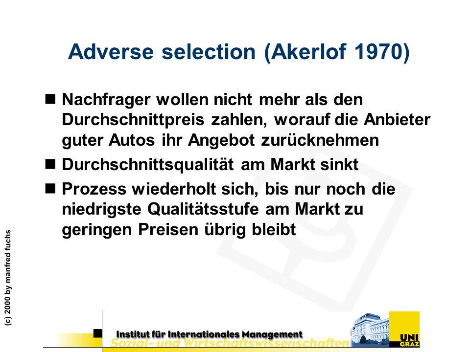 (c) 2000 by manfred fuchs Adverse selection (Akerlof 1970) nNachfrager wollen nicht mehr als den Durchschnittpreis zahlen, worauf die Anbieter guter A
