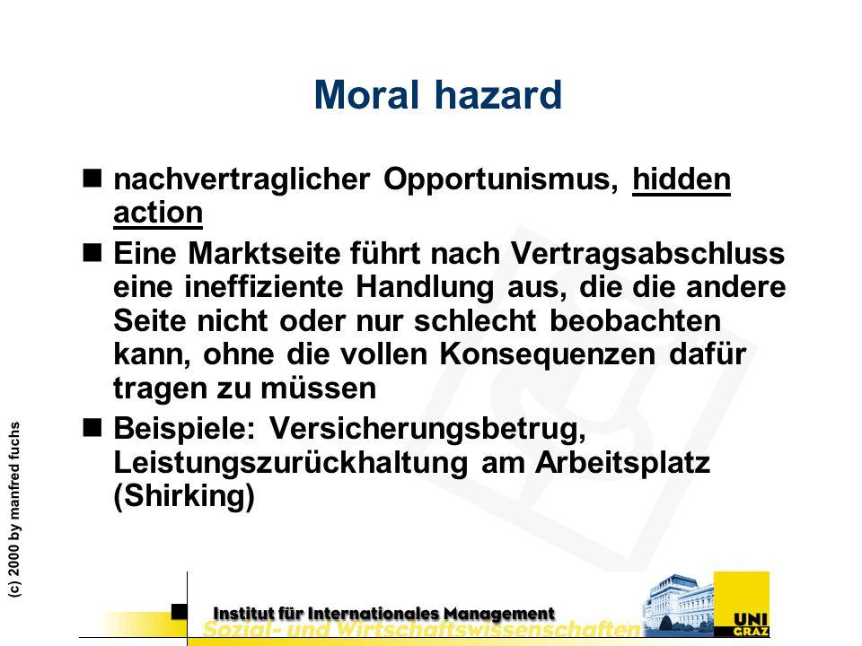 (c) 2000 by manfred fuchs Moral hazard nnachvertraglicher Opportunismus, hidden action nEine Marktseite führt nach Vertragsabschluss eine ineffiziente