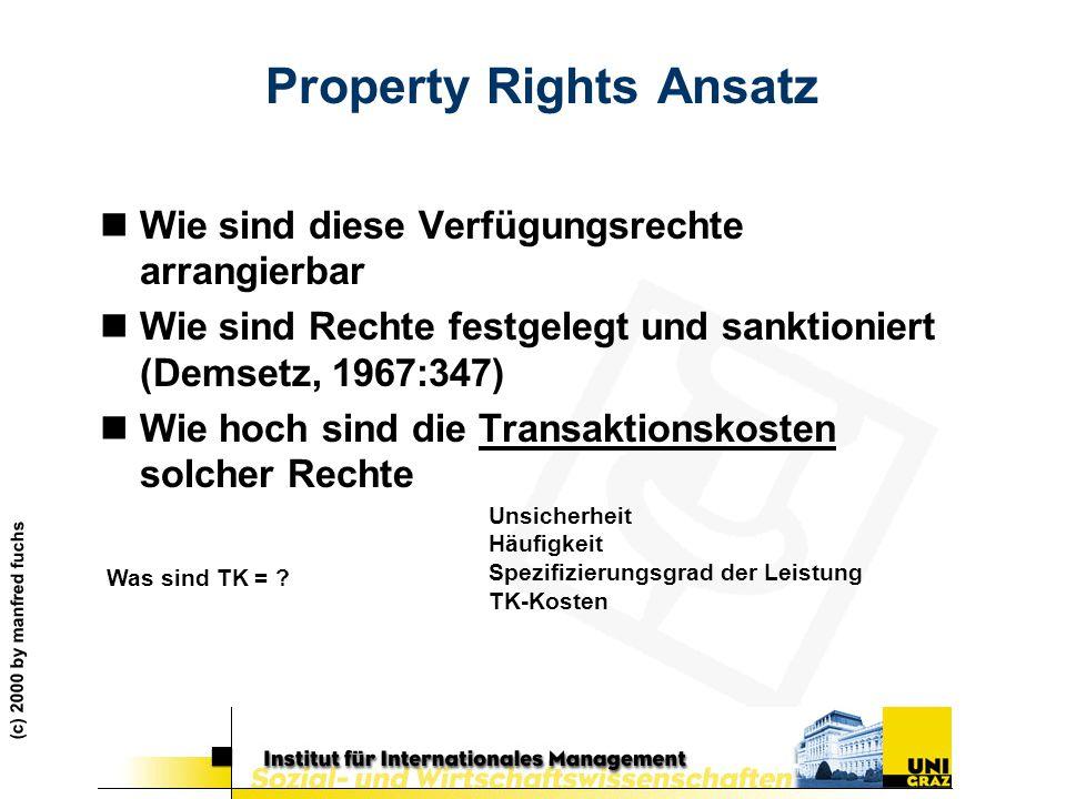 (c) 2000 by manfred fuchs Property Rights Ansatz nWie sind diese Verfügungsrechte arrangierbar nWie sind Rechte festgelegt und sanktioniert (Demsetz,