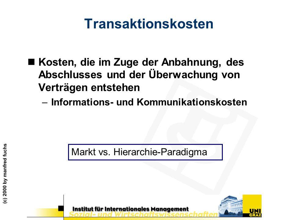 (c) 2000 by manfred fuchs Transaktionskosten nKosten, die im Zuge der Anbahnung, des Abschlusses und der Überwachung von Verträgen entstehen –Informat