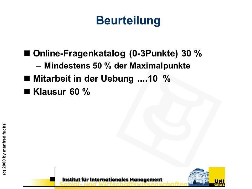 (c) 2000 by manfred fuchs Beurteilung nOnline-Fragenkatalog (0-3Punkte) 30 % –Mindestens 50 % der Maximalpunkte nMitarbeit in der Uebung....10 % nKlau