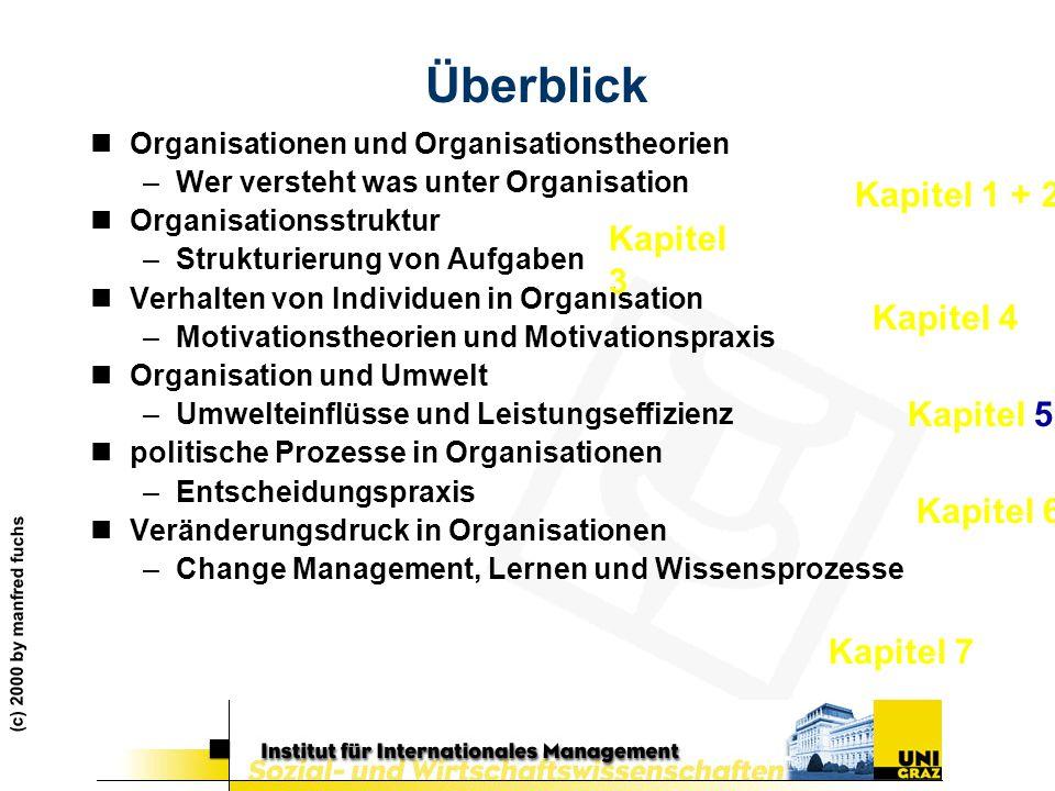 (c) 2000 by manfred fuchs Überblick nOrganisationen und Organisationstheorien –Wer versteht was unter Organisation nOrganisationsstruktur –Strukturier