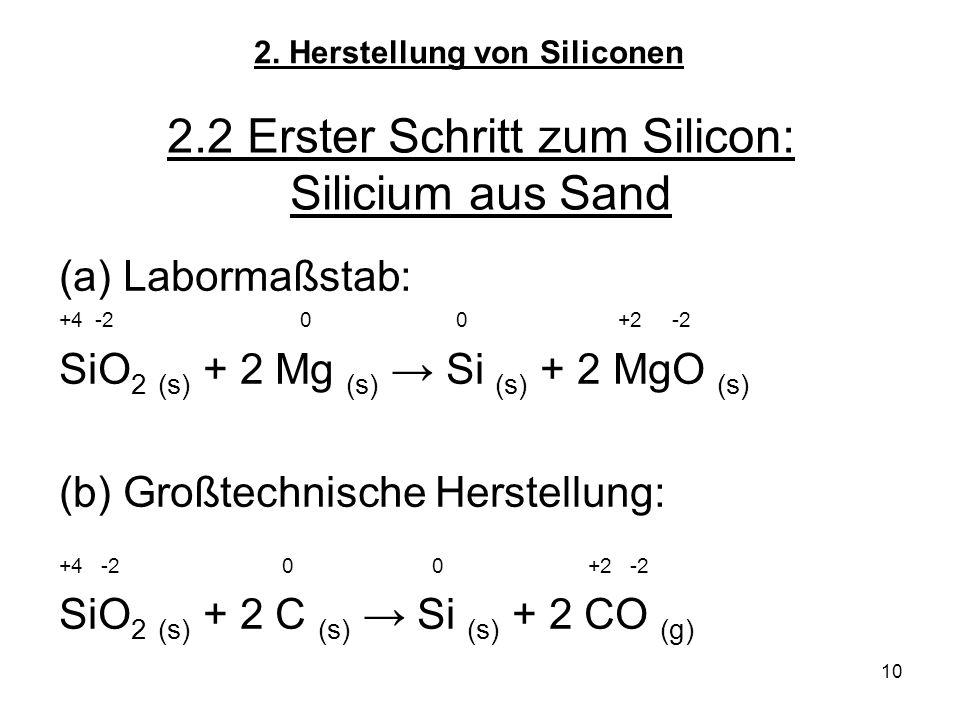 10 2.2 Erster Schritt zum Silicon: Silicium aus Sand (a)Labormaßstab: +4 -2 0 0 +2 -2 SiO 2 (s) + 2 Mg (s) → Si (s) + 2 MgO (s) (b) Großtechnische Herstellung: +4 -2 0 0 +2 -2 SiO 2 (s) + 2 C (s) → Si (s) + 2 CO (g) 2.