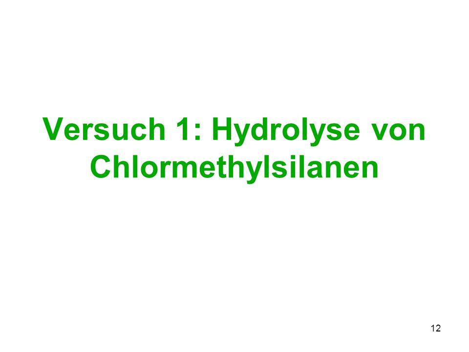 12 Versuch 1: Hydrolyse von Chlormethylsilanen