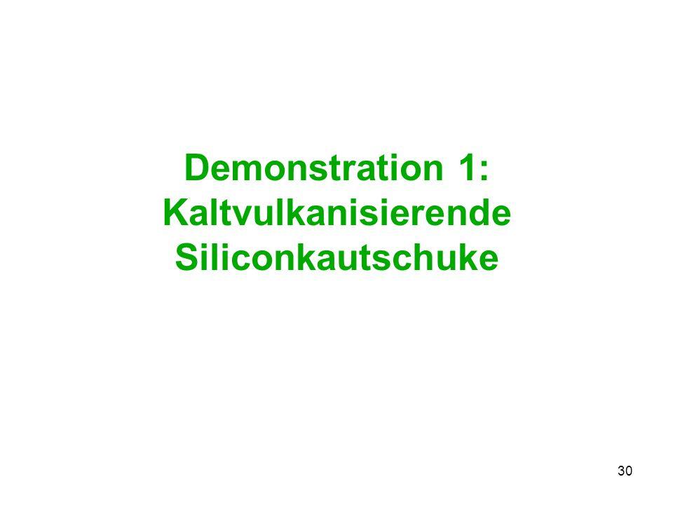 30 Demonstration 1: Kaltvulkanisierende Siliconkautschuke