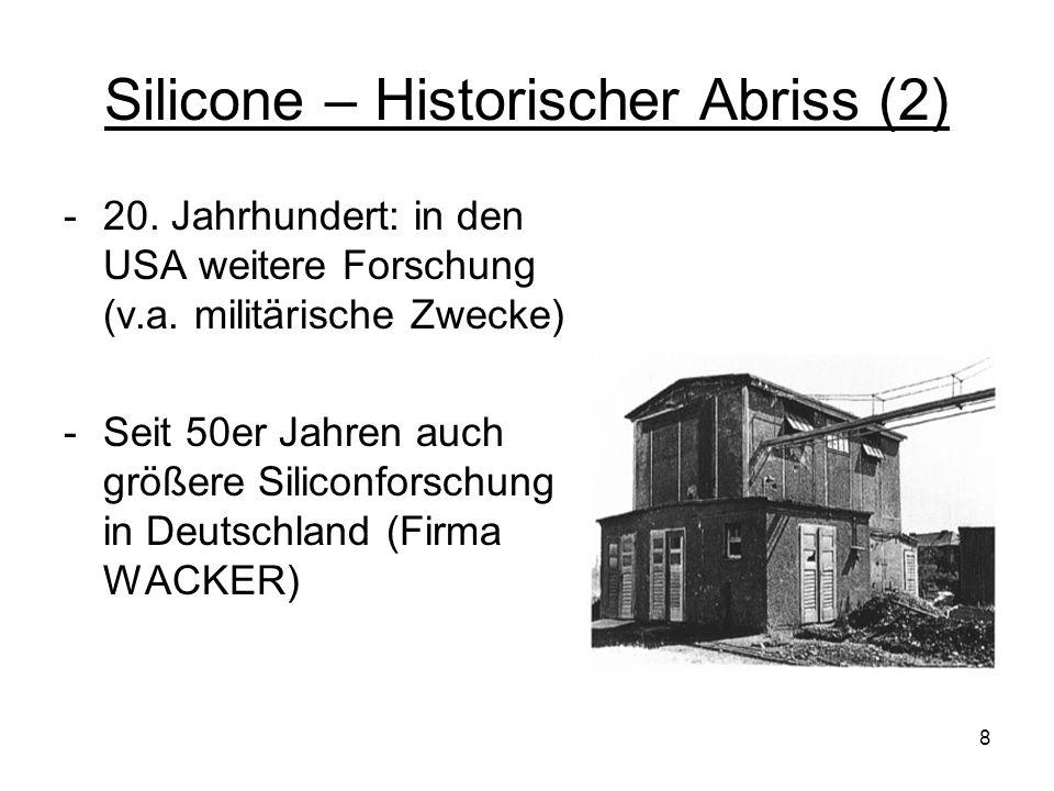39 (2) Silicone im Verkehr - Elektronik (z.B.Ummantelung von Zündkerzen) - Mechanik (z.B.