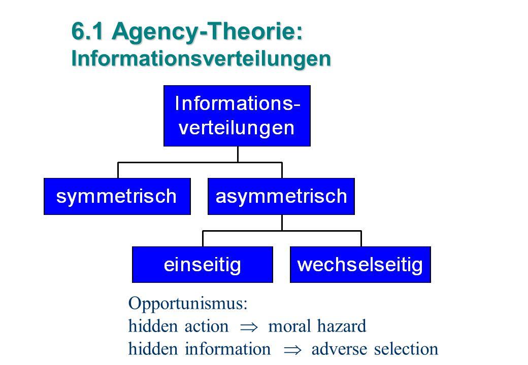 6.1 Agency-Theorie: Informationsverteilungen Opportunismus: hidden action  moral hazard hidden information  adverse selection