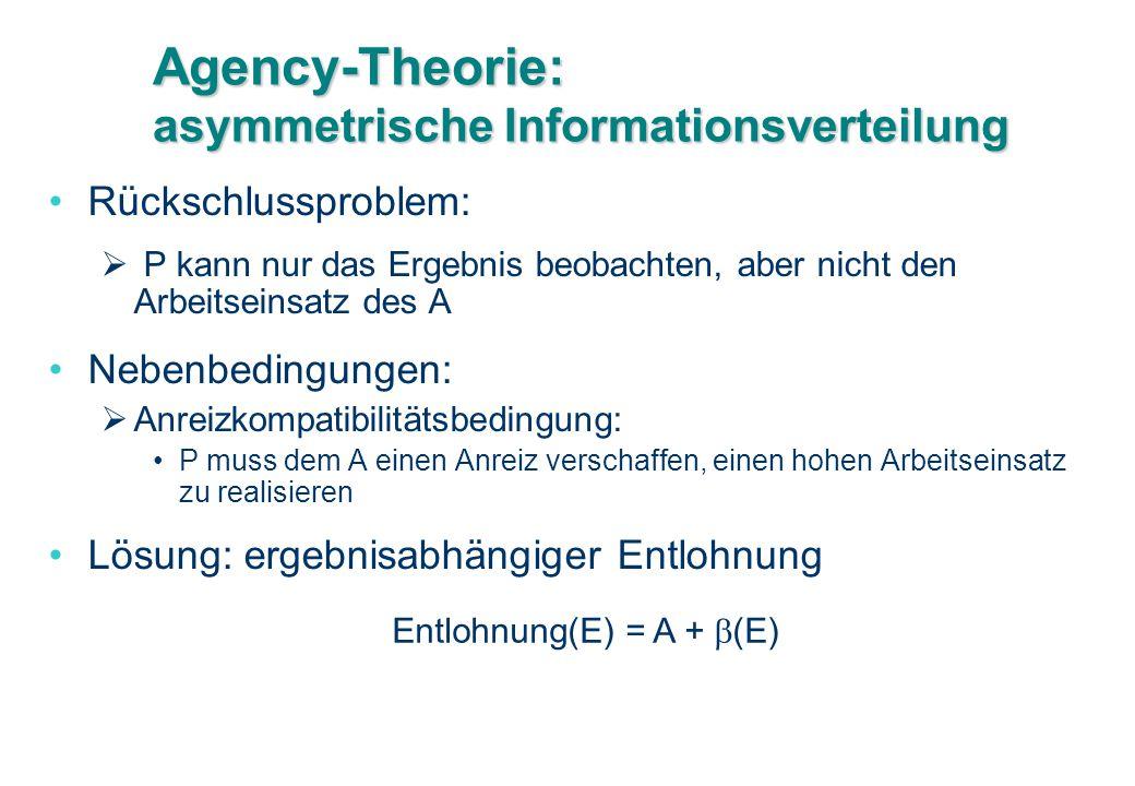 Agency-Theorie: asymmetrische Informationsverteilung Rückschlussproblem:  P kann nur das Ergebnis beobachten, aber nicht den Arbeitseinsatz des A Neb