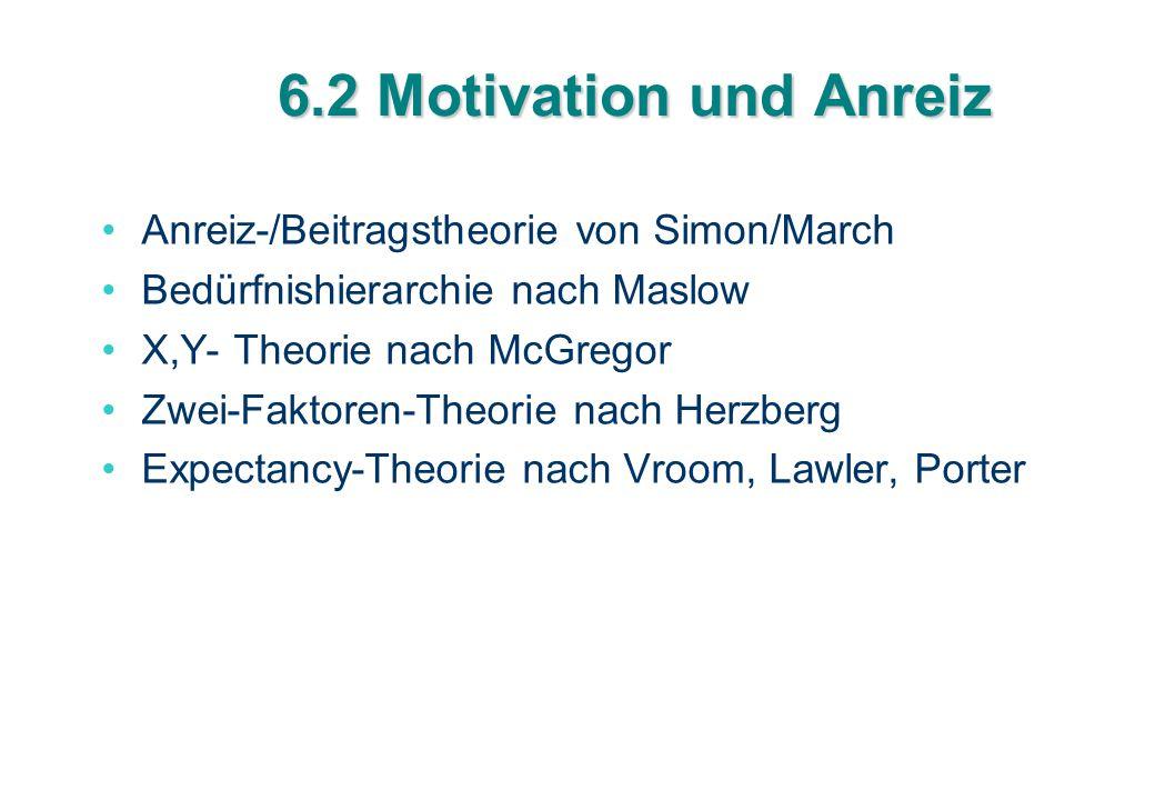 6.2 Motivation und Anreiz Anreiz-/Beitragstheorie von Simon/March Bedürfnishierarchie nach Maslow X,Y- Theorie nach McGregor Zwei-Faktoren-Theorie nac