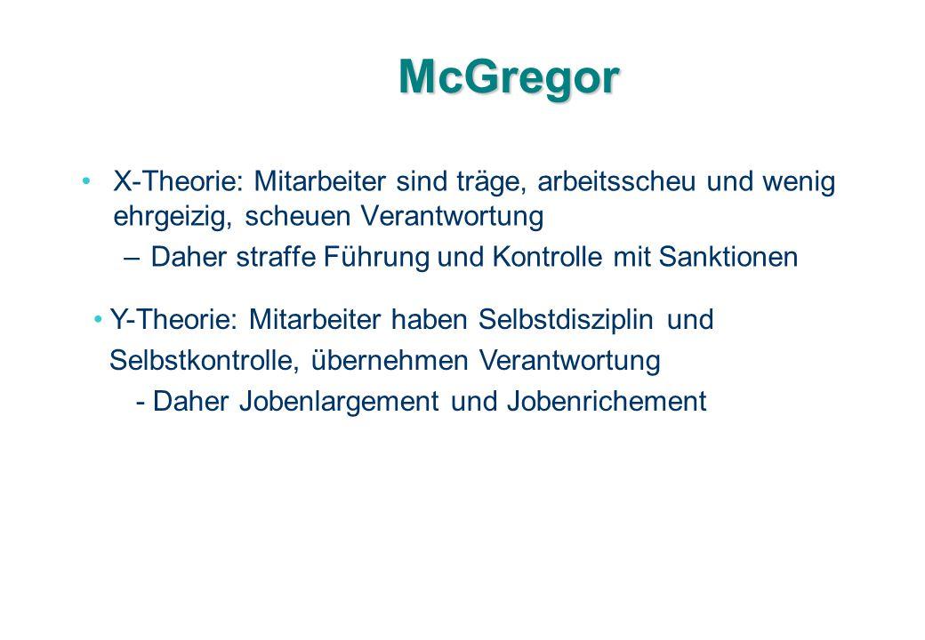 McGregor X-Theorie: Mitarbeiter sind träge, arbeitsscheu und wenig ehrgeizig, scheuen Verantwortung –Daher straffe Führung und Kontrolle mit Sanktione
