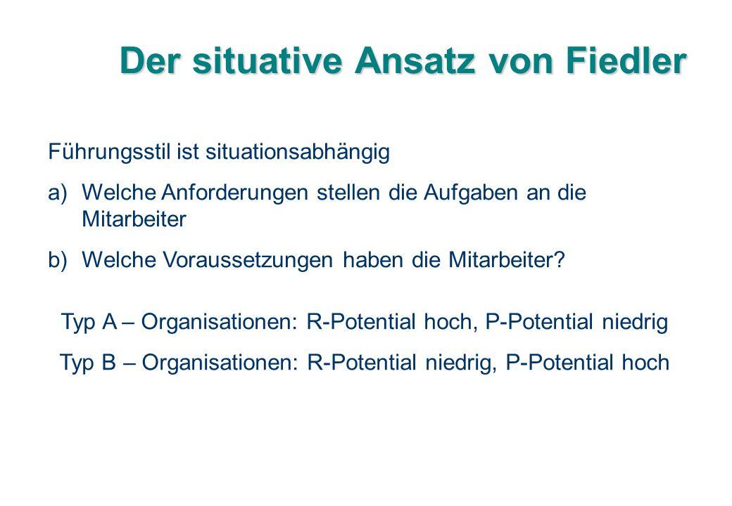 Der situative Ansatz von Fiedler Führungsstil ist situationsabhängig a)Welche Anforderungen stellen die Aufgaben an die Mitarbeiter b)Welche Vorausset
