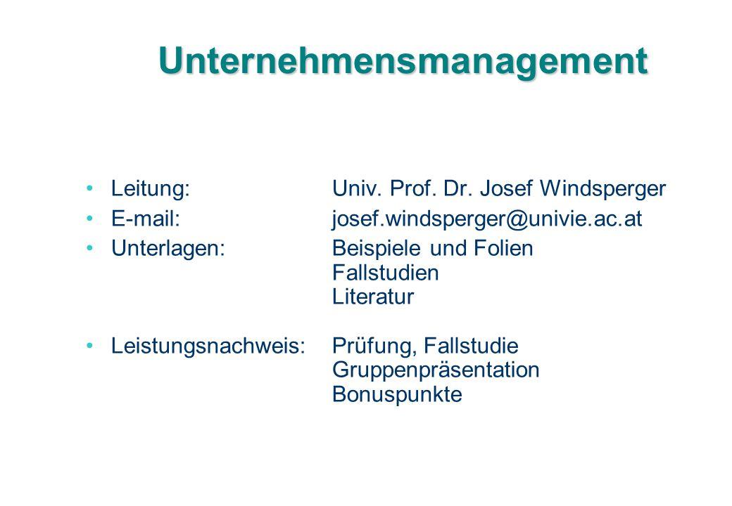 Unternehmensmanagement Leitung:Univ. Prof. Dr. Josef Windsperger E-mail:josef.windsperger@univie.ac.at Unterlagen:Beispiele und Folien Fallstudien Lit
