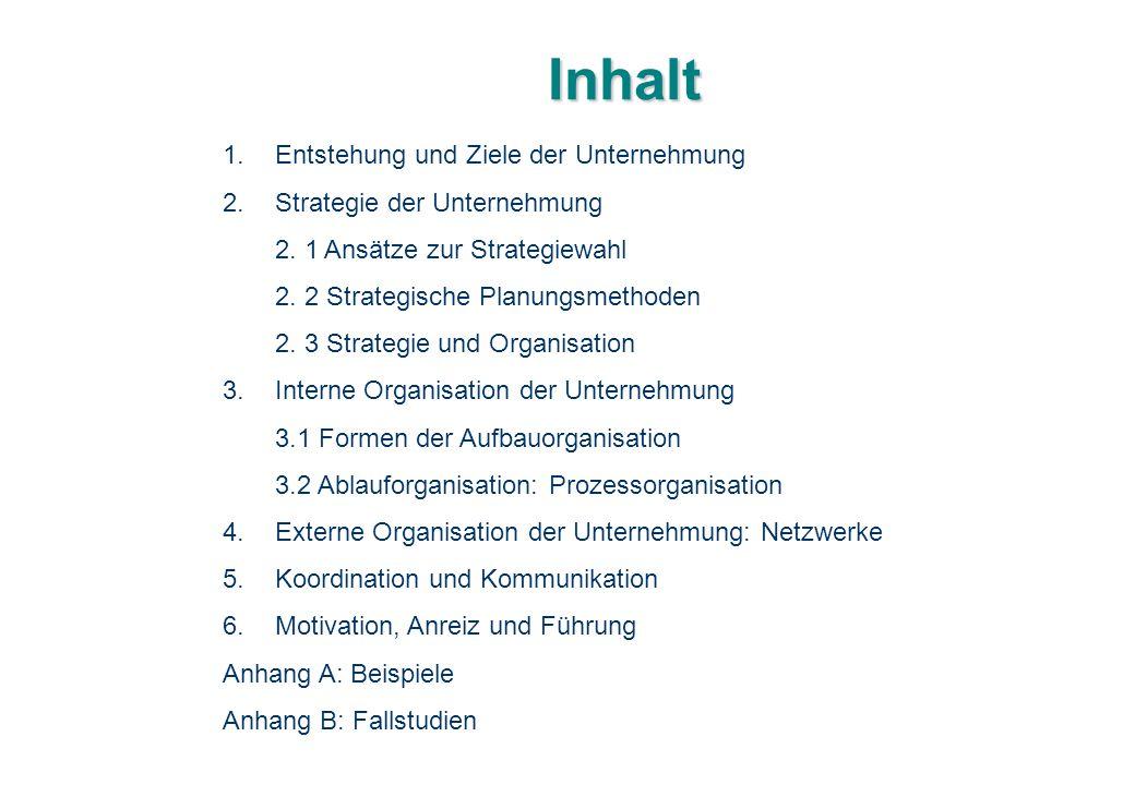 Inhalt 1.Entstehung und Ziele der Unternehmung 2.Strategie der Unternehmung 2. 1 Ansätze zur Strategiewahl 2. 2 Strategische Planungsmethoden 2. 3 Str