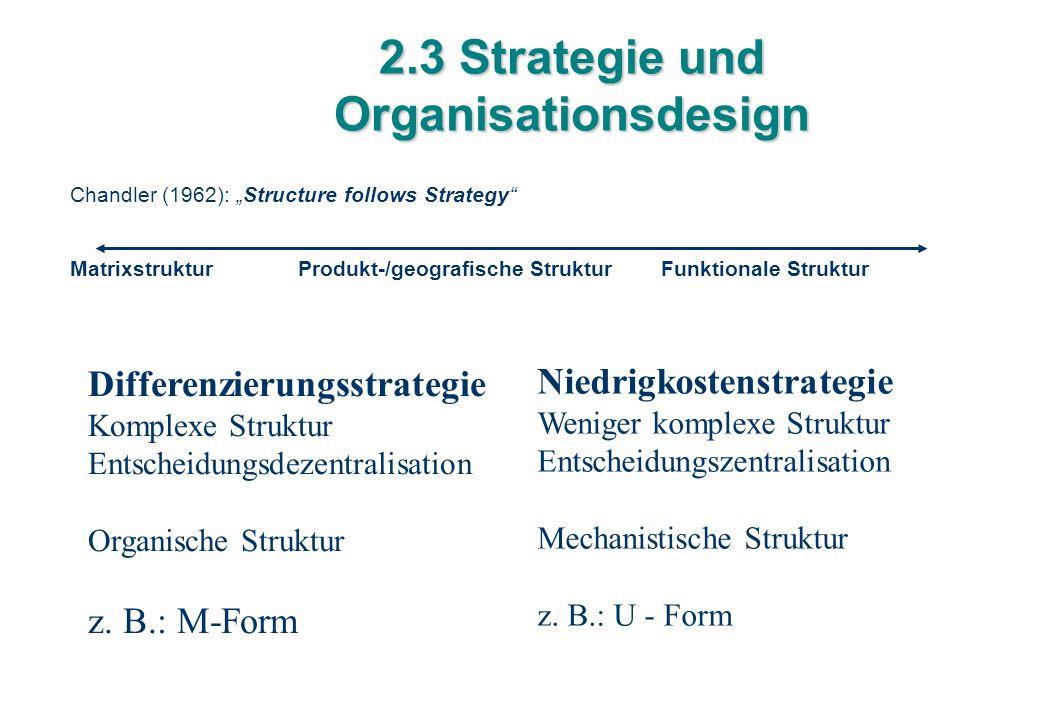 """2.3 Strategie und Organisationsdesign Chandler (1962): """"Structure follows Strategy"""" Matrixstruktur Produkt-/geografische Struktur Funktionale Struktur"""