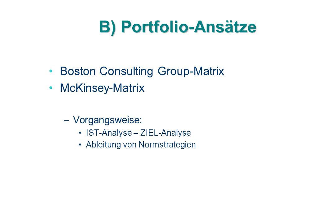 B) Portfolio-Ansätze Boston Consulting Group-Matrix McKinsey-Matrix –Vorgangsweise: IST-Analyse – ZIEL-Analyse Ableitung von Normstrategien