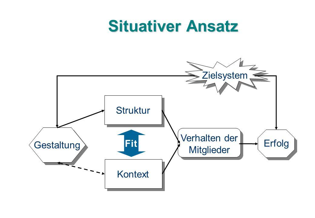 Situativer Ansatz Struktur Kontext Fit Gestaltung Verhalten der Mitglieder Erfolg Zielsystem