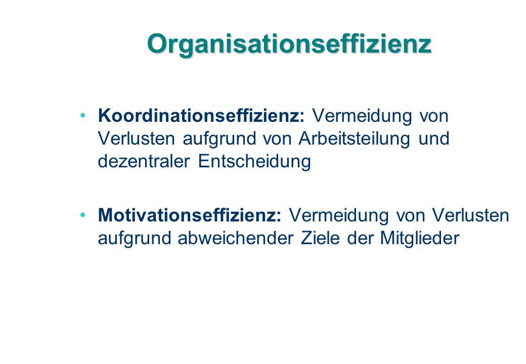 Organisationseffizienz Koordinationseffizienz: Vermeidung von Verlusten aufgrund von Arbeitsteilung und dezentraler Entscheidung Motivationseffizienz: