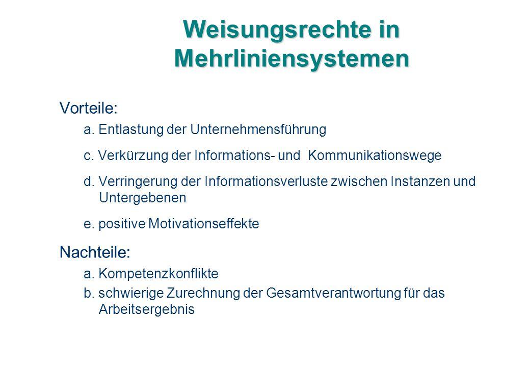Weisungsrechte in Mehrliniensystemen Vorteile: a. Entlastung der Unternehmensführung c. Verkürzung der Informations- und Kommunikationswege d. Verring