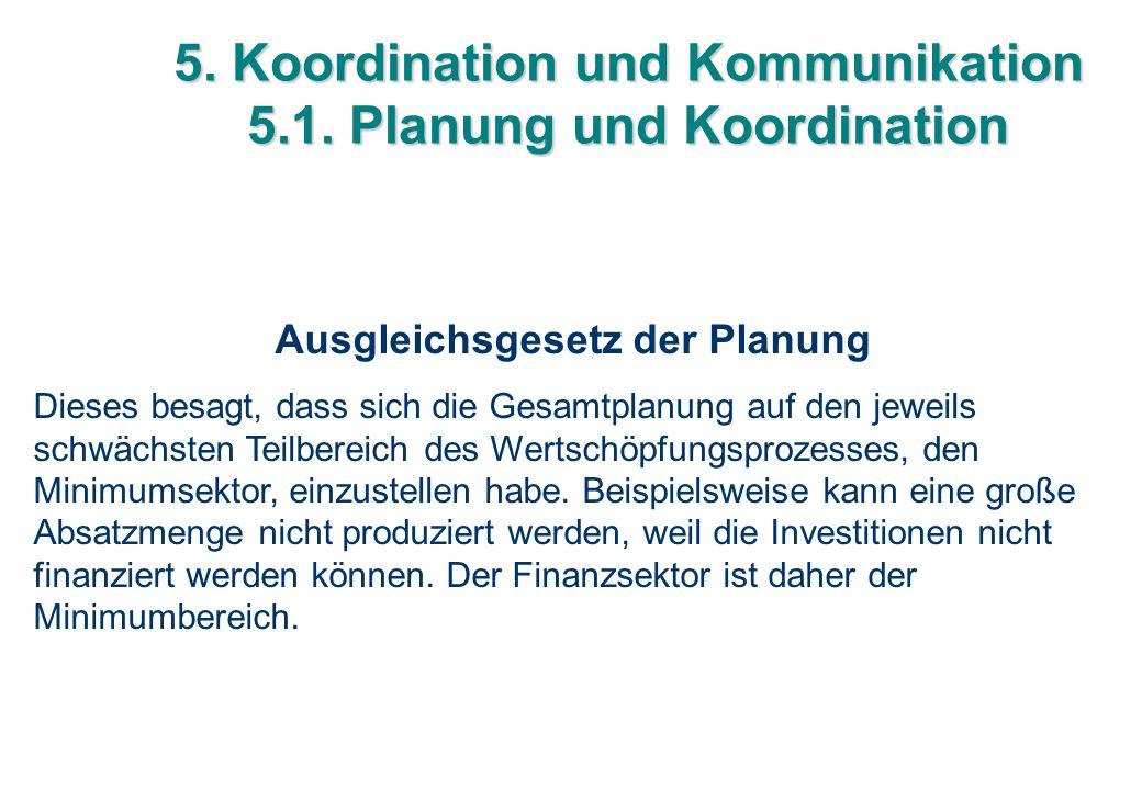 5. Koordination und Kommunikation 5.1. Planung und Koordination Ausgleichsgesetz der Planung Dieses besagt, dass sich die Gesamtplanung auf den jeweil