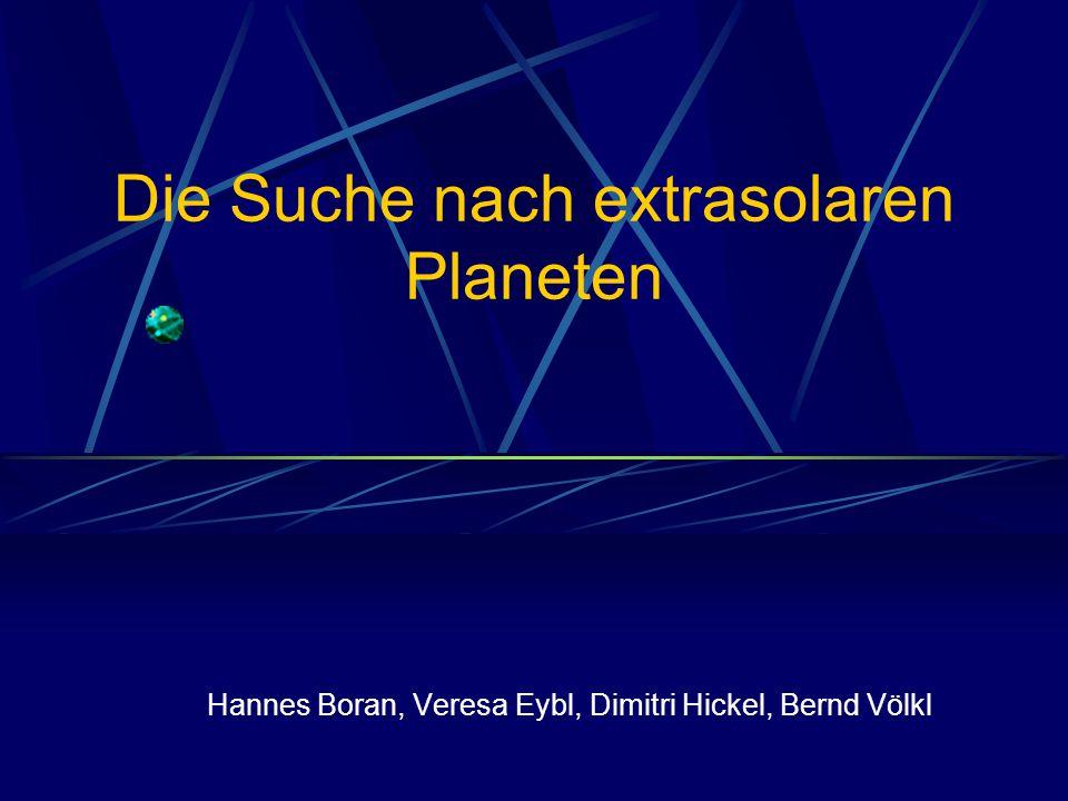 Vorteil: man könnte die Masse des Begleiters direkt bestimmen Benötigte Genauigkeit kann bis jetzt nicht erreicht werden: Hipparcos-Satellit konnte Sternpositionen bis auf 1 milliarcsec genau vermessen Oben: Simulation eines Sterns mit Begleiter aus 50pc Abstand m Planet = 15 M jupiter Bewegung des Sterns um 50 marcsec/y