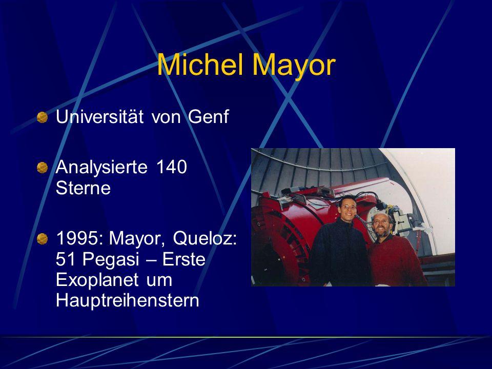 Michel Mayor Universität von Genf Analysierte 140 Sterne 1995: Mayor, Queloz: 51 Pegasi – Erste Exoplanet um Hauptreihenstern
