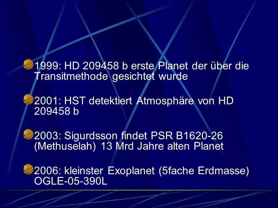 1999: HD 209458 b erste Planet der über die Transitmethode gesichtet wurde 2001: HST detektiert Atmosphäre von HD 209458 b 2003: Sigurdsson findet PSR