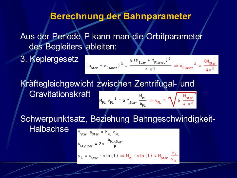 Berechnung der Bahnparameter Aus der Periode P kann man die Orbitparameter des Begleiters ableiten: 3. Keplergesetz Kräftegleichgewicht zwischen Zentr