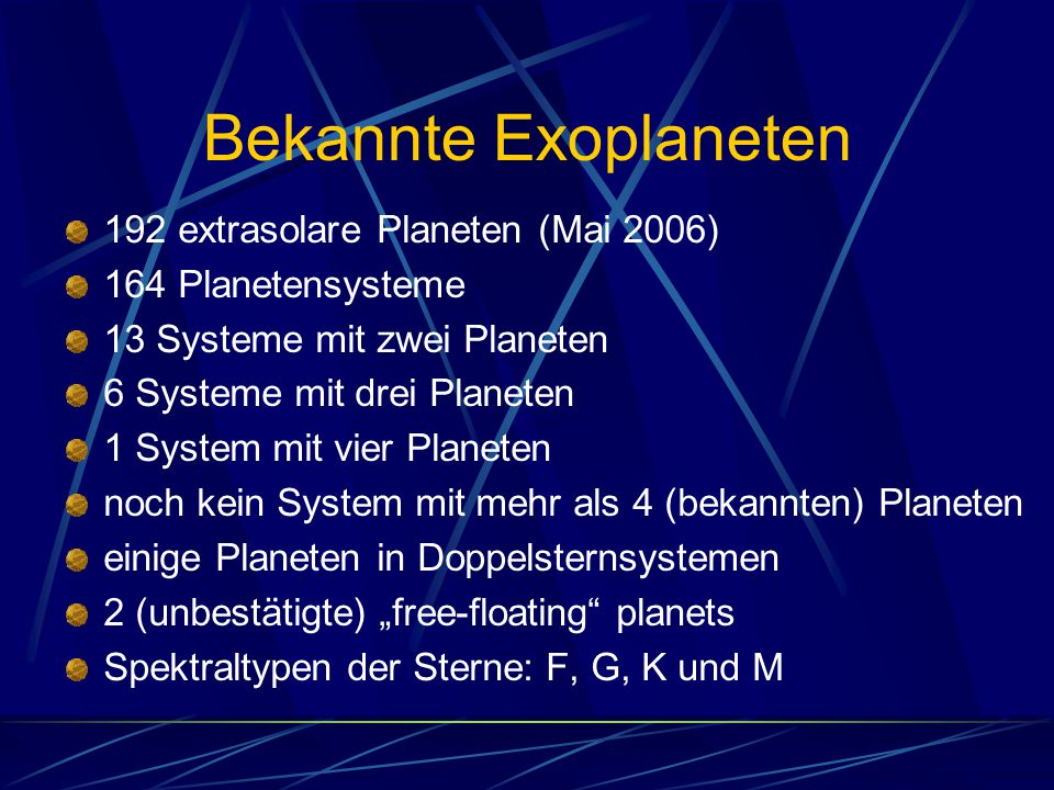 Bekannte Exoplaneten 192 extrasolare Planeten (Mai 2006) 164 Planetensysteme 13 Systeme mit zwei Planeten 6 Systeme mit drei Planeten 1 System mit vie