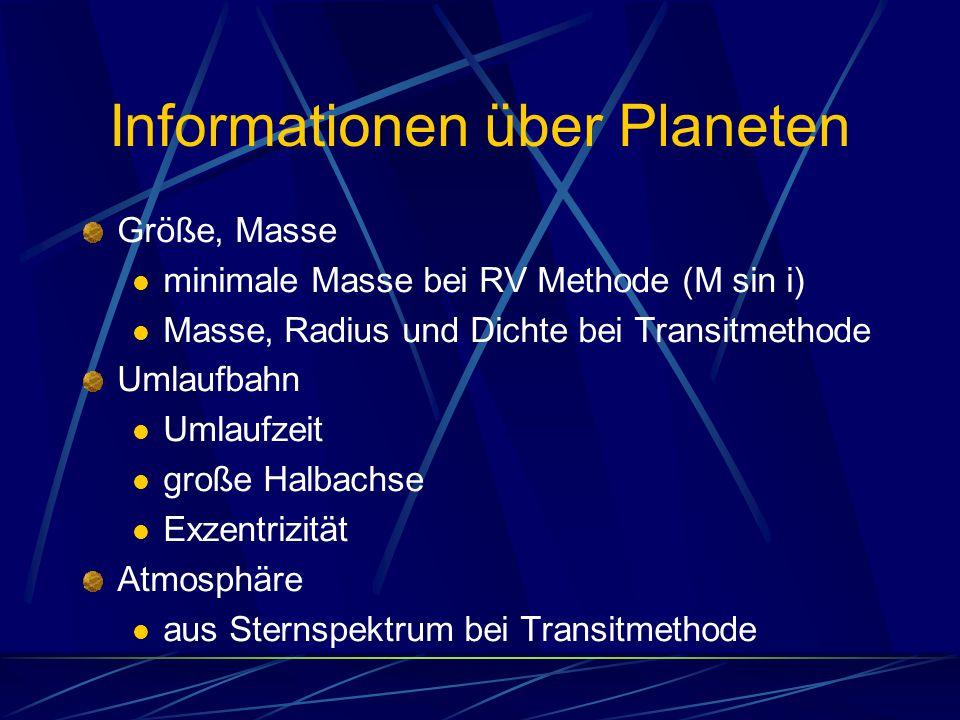 Informationen über Planeten Größe, Masse minimale Masse bei RV Methode (M sin i) Masse, Radius und Dichte bei Transitmethode Umlaufbahn Umlaufzeit gro