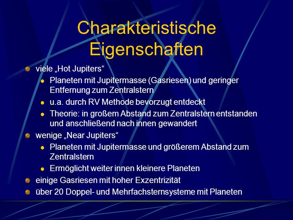 """Charakteristische Eigenschaften viele """"Hot Jupiters"""" Planeten mit Jupitermasse (Gasriesen) und geringer Entfernung zum Zentralstern u.a. durch RV Meth"""