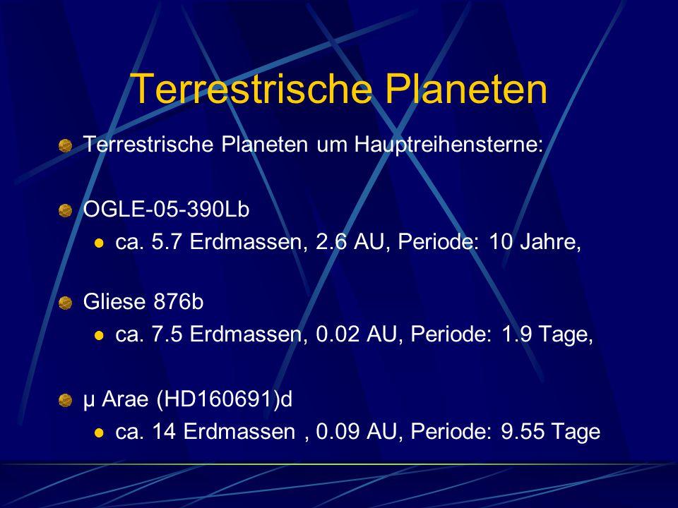 Terrestrische Planeten Terrestrische Planeten um Hauptreihensterne: OGLE-05-390Lb ca. 5.7 Erdmassen, 2.6 AU, Periode: 10 Jahre, Gliese 876b ca. 7.5 Er