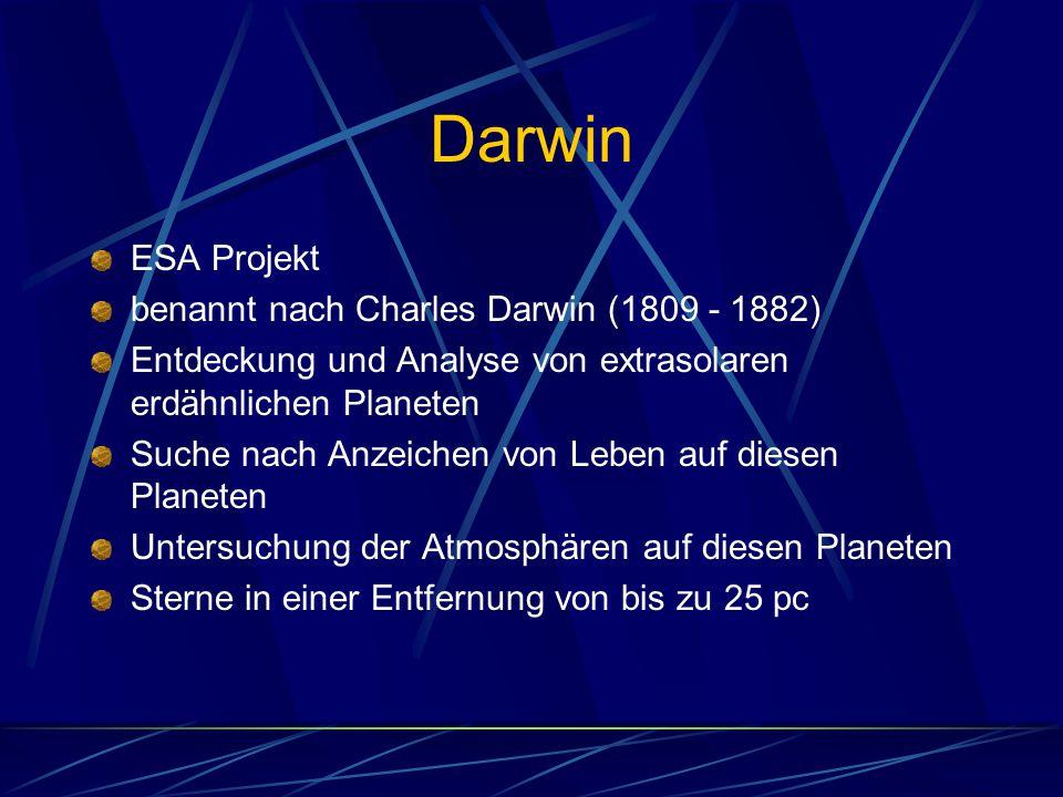 Darwin ESA Projekt benannt nach Charles Darwin (1809 - 1882) Entdeckung und Analyse von extrasolaren erdähnlichen Planeten Suche nach Anzeichen von Le