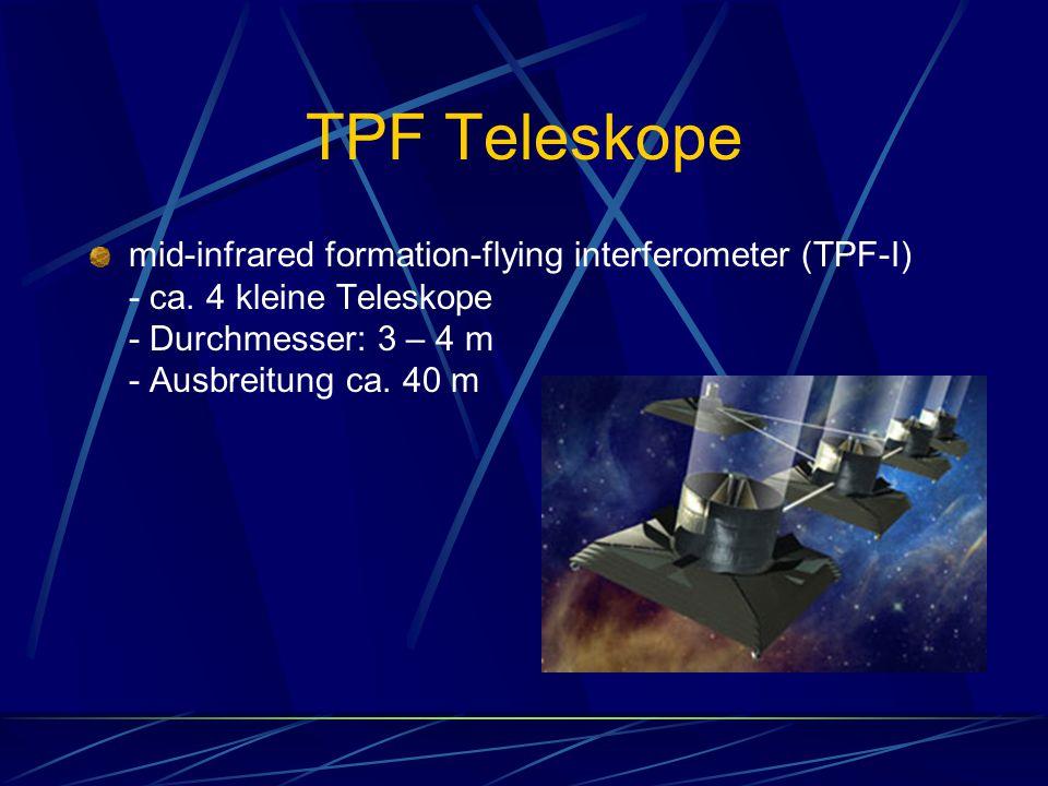 TPF Teleskope mid-infrared formation-flying interferometer (TPF-I) - ca. 4 kleine Teleskope - Durchmesser: 3 – 4 m - Ausbreitung ca. 40 m